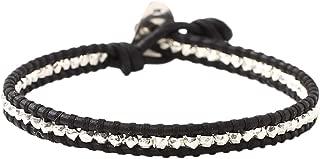 Chan Luu Men's Unisex Leather Sterling Silver Nuggets Single Wrap Bracelet