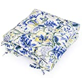 """Shinnwa Kitchen Dining Room Chair Pads Cushions with Ties [16""""x16""""x3""""] Patio Chair Seat Cushion Set of 2 - Canvas Blue Flowers Pattern"""