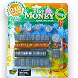 Learn & Climb Play Money Coins for Kids - 10 Half Dollars, 50 Quarters, 50 Dimes, 50 Nickels, 50 Pennies