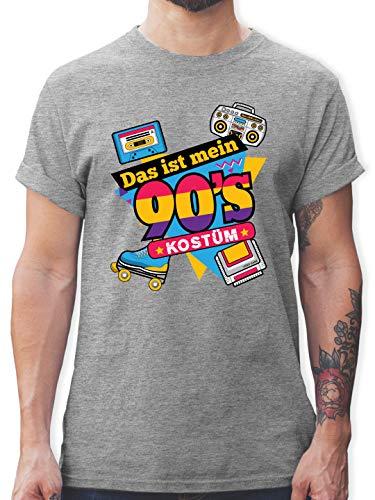 Karneval & Fasching - Das ist Mein 90er Jahre Kostüm - 3XL - Grau meliert - 90er Jahre Outfit l - L190 - Tshirt Herren und Männer T-Shirts