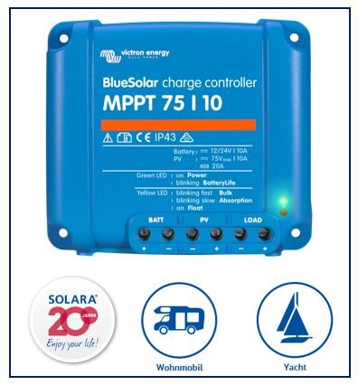 Preisvergleich Produktbild Premium Set Victron MPPT 75 / 10 Laderegler für Wohnmobile