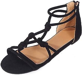 64a9afe8 VJGOAL Sandalias Planas Vendaje de Playa Cremallera de Punta Abierta Zapatos  Romanos Zapatos de Gladiador para