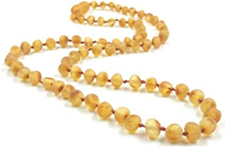Raw Amber Necklace/Genuine Baltic Amber Necklace Made of Natural unpolished Amber Beads 46cm (Raw)