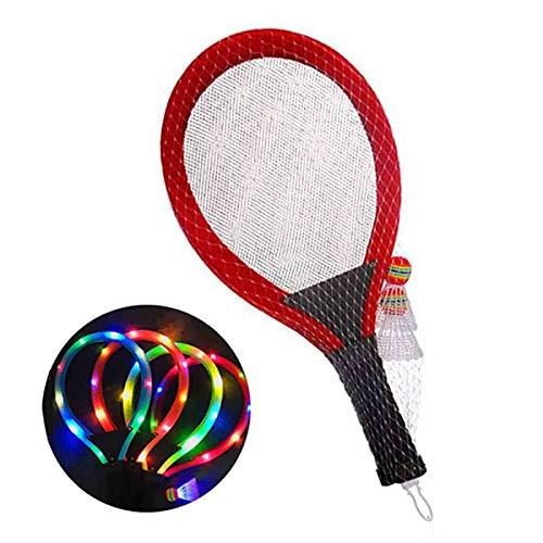 GUOHAPPY LED Badmintonschläger Kinder,Geeignet Für Kinder Über 3 Jahre Badminton Set Kinder, Inklusive LED-Schläger * 2 Und LED-Badminton, Ballspiel Für Kinder Federballschläger,Rot
