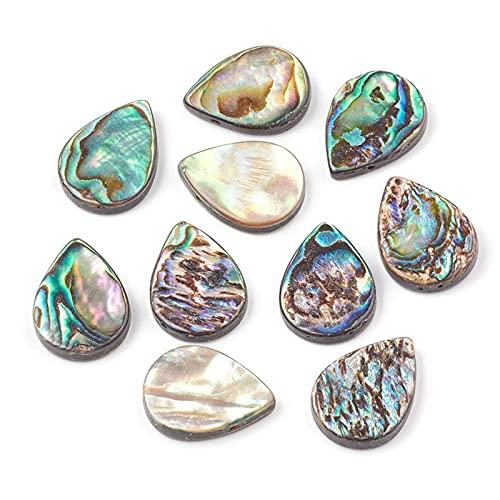 STPUS 10 unids Heart Drop Forma Colorido Abalone Shell Paua Concha de Cuentas para la joyería de Bricolaje Holida 1mm (Color : Drop Shape, Size : Gratis)