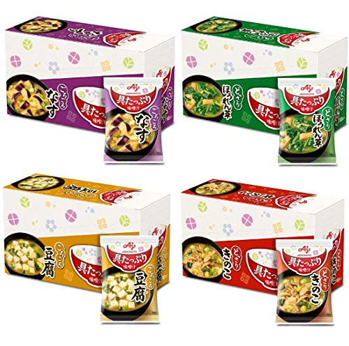 【Amazon.co.jp限定】 味の素 具たっぷり味噌汁 40食セット(なす・ほうれん草・豆腐・きのこ 各10食セット)