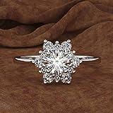 Womeet Regalo creativo de la joyería de la banda del anillo del circón del copo de nieve del diamante de las mujeres de Nieve Regalo de San Valentín