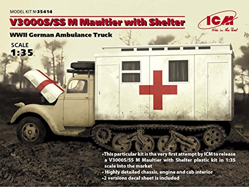 ICM 1/35 Scale V3000S/SS M Maultier with Shelter - WWII German Truck Model Building Kit #35414