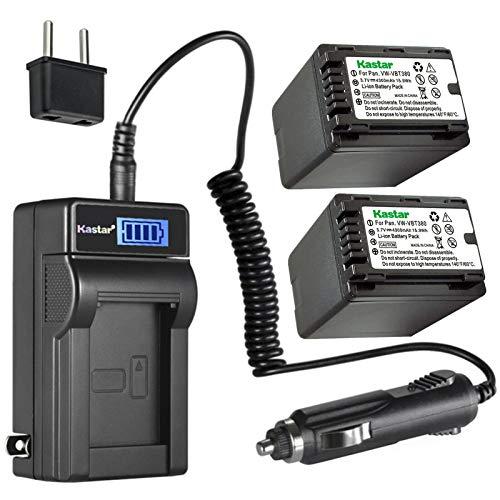 Kastar 2-Pack VW-VBT380 Battery and LCD AC Charger Compatible with Panasonic HC-V550M, HC-V550K, HC-V620M, HC-V710, HC-V720, HC-V720M, HC-V720GK, HC-V720MGK, HC-V720K, HC-V750, HC-V750M Camera