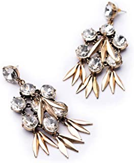 BGTKD Earrings Resin Glass Plant Shiny Gold Color Colorful Stud Earrings