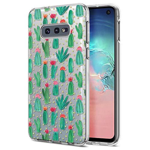 ZhuoFan Cover Samsung Galaxy S10e, Custodia Cover Silicone Trasparente con Disegni Ultra Slim TPU Morbido Antiurto 3D Cartoon Bumper Case Protettiva per Samsung Galaxy S10e (Cactus)