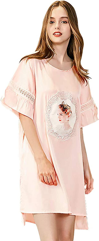 Belle Heure Women's Satin Silky Lace Nightgown Short Sleeve Sleep Shirt Loungewear