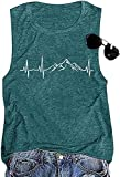 Mountain Heartbeat Shirt for Women Casual Loose Crewneck Active Hiking Camping Graphic Tank Tops (Green01 XL)