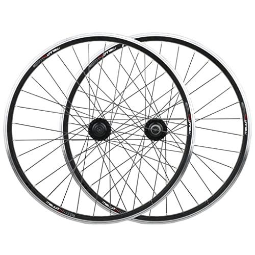 LSRRYD Ciclismo Ruote BMX Ruota Bici da 20 Pollici Cerchi A Doppia Parete MTB Set Ruote Bici 26' V/Freno A Disco QR 8-10 velocità Mozzi Volano A Spirale (Color : Black, Size : 26in)
