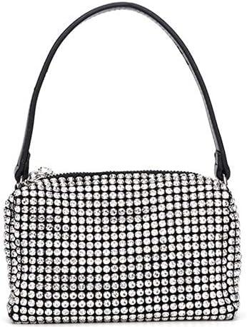Women Mini Rhinestone Pouch Bag Crystal Cut Rhinestones Top Handle Handbag Chain Mesh Clutch product image