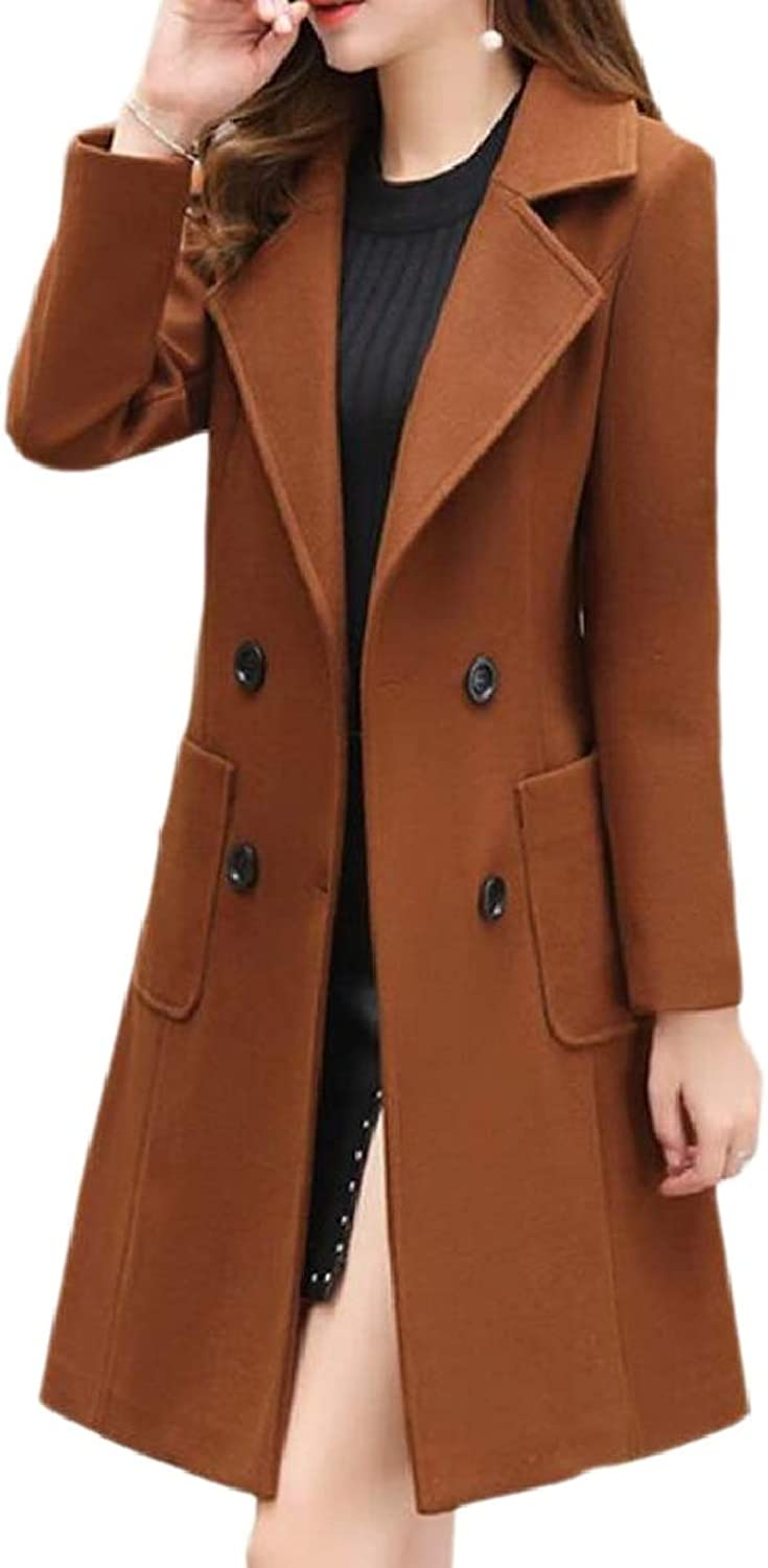 TymhgtCA Women's CurvedHem Peacoat Slim Wool Blend DoubleBreasted Lapel Pea Coat