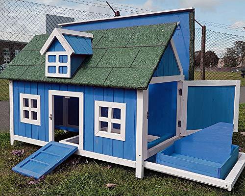 Poulailler pour poules avec maison pour nids, nichoir,...