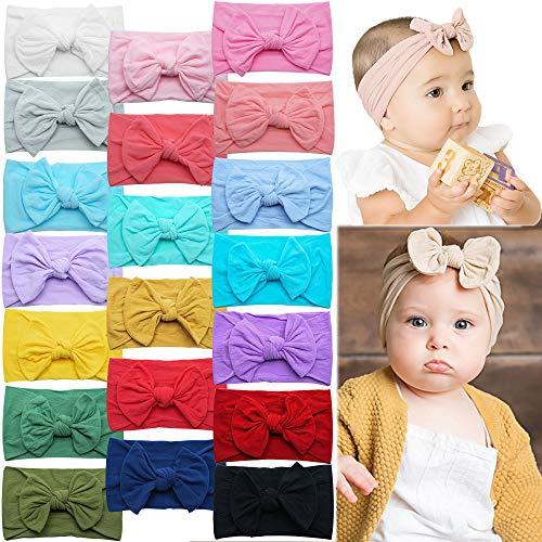 DeD 20 Pecies Nylon Newborn Headbands Hair Bows Elastics Soft Bands for Newborns Infants Toddlers