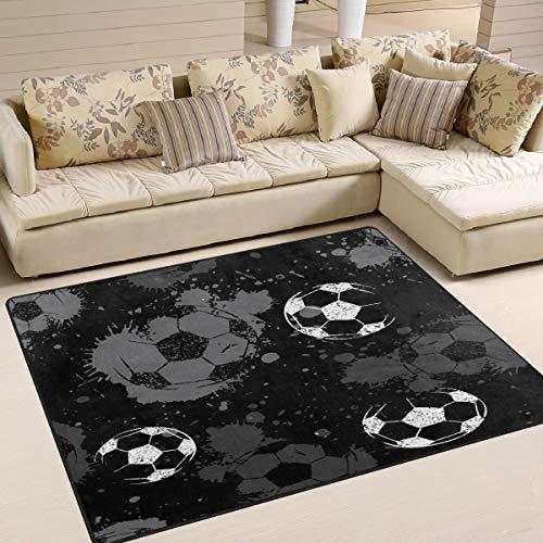 Use7 Abstrakter Fußball-Teppich mit Wasserfarbe, für Wohnzimmer, Schlafzimmer, Textil, mehrfarbig, 160cm x 122cm(5.3 x 4 feet)