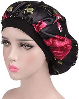 Beaupretty boné de dormir feminino macio elástico cetim camisola floral para dormir capa de cabeça noturno (preto)