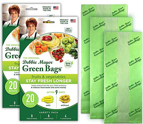 Debbie Meyer GreenBags 40-Pack (16M, 16L, 8XL) – Keeps Fruits, Vegetables, and Cut Flowers, Fresh Longer, Reusable, BPA Free, Made in USA