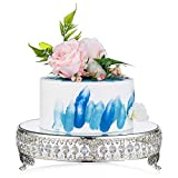 NUPTIO Wedding Metal Cake Display Stand with Mirror Top Plate 12 inches Diameter Beaded Crystal Metal Cake Pedestal, Snack Tray, Baking Party Supplies Centerpiece