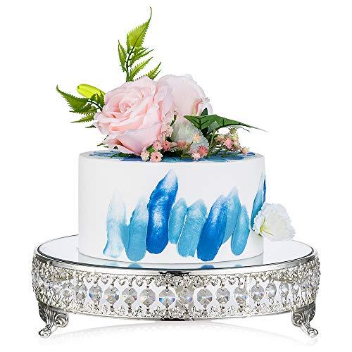Nuptio Hochzeit Metall Kuchen Ausstellungsstand Mit Spiegelplatte/Perlen Kristall/Metall Kuchen Sockel Für Geburtstagsfeier Event Supplies Mittelstück, Cupcake Ständer Tortenplatte Silber