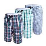 IDORIC Pantalones Cortos de Pijama de salón de Cuadros 100% algodón para Hombre Paquete de 2-3...