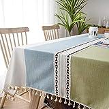 Sunbeauty Mantel Mesa Rectangular Antimanchas Mantel Tela Elegante Algodon Lino con Borlas Mantel Resistente 140x180 cmTable Cloth Rectangle Tablecloth para Mesa de Comedor