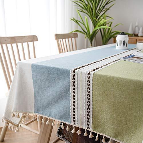 Sunbeauty Manteles Mesa Rectangular Tela Elegantes Mantel Antimanchas Algodon Lino con Borlas Resistente 140x220 cm Table Cloth Rectangle Tablecloth para Mesa de Comedor