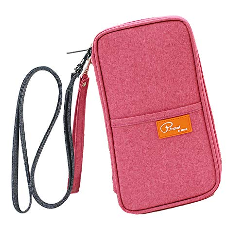 Travel Wallet Family Passport Holder, FLYMEI Travel Wallet with Neck & Hand Strap for...