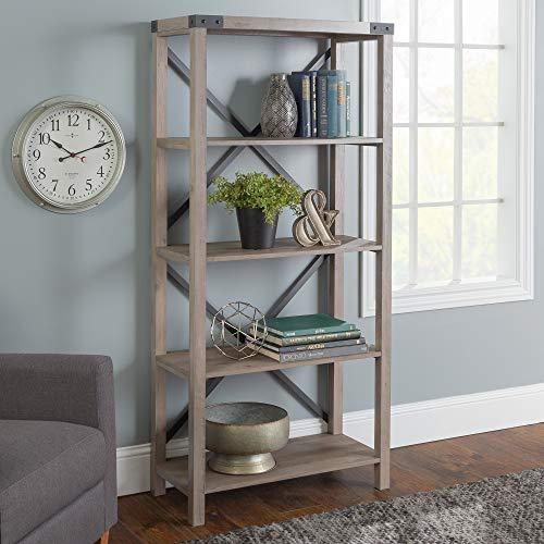 Walker Edison Furniture Company Modern Farmhouse Wood Bookcase Bookshelf Home Office Living Room Storage, 4 Shelf, Gray Wash