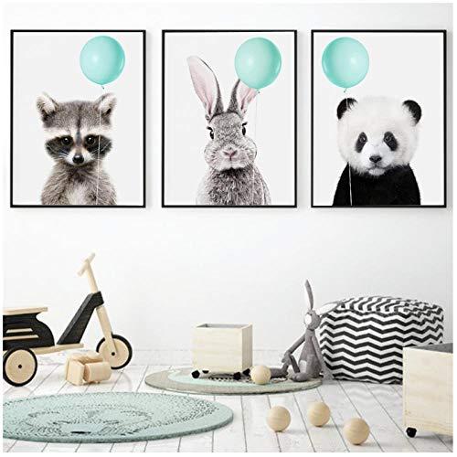 Zhaoyangeng muurkunst canvas schilderij panda konijntje koala groen ballon posters en afdrukken dieren muurschilderingen kinderkamer decoratie - 50X70Cmx3 niet ingelijst