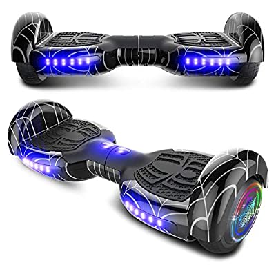 "TPS 6.5"" Spider Web Edition Hoverboard Self Balancing Scooter with Colorful LED Wheel Lights - UL2272 Certified (Spider Black)"