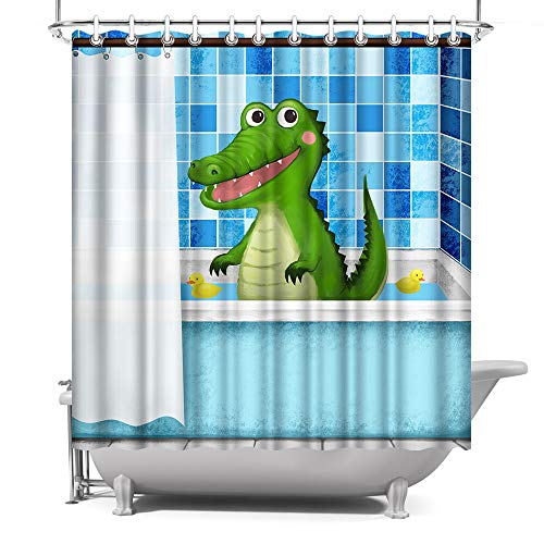 ArtBones Duschvorhang für Jungen, Krokodil, Tiermotiv, für Kinder, Badevorhang, wasserdicht, Polyester, 183 x 183 cm, Blau & Weiß