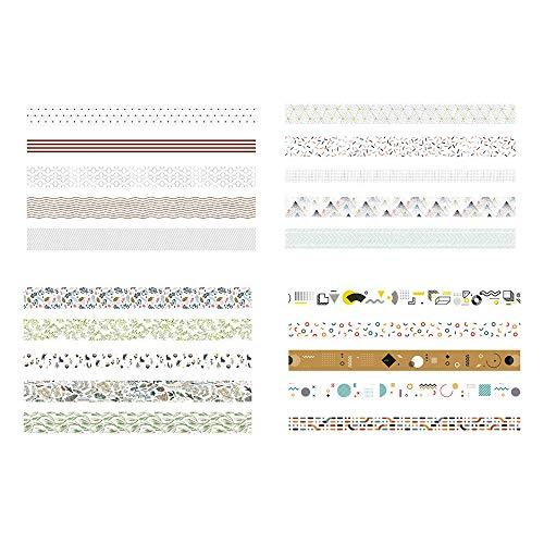 Yemiany vintage washi tape, Juegos de cintas Washi,juego de 20 rollos de cinta Washi para álbumes de recortes, regalos, manualidades, suministros para fiestas de oficina (1 cm x 3 m, 4 estilos)