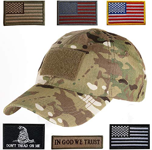 Lightbird Tactical Hat with 6 Pieces Tactical Military Patches, Adjustable Operator Hat, Durable Tactical OCP Flag Ball Cap Hat for Men Work, Gym, Hiking and More