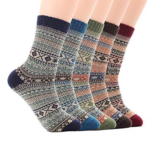 JYOHEY 5 Paar Warme Socken Herren Dicke Stricksocken Herren Bunt Wolle Herbst Winter Socken Herren 37-44, 5 Farben, Einheitsgröße