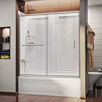 DreamLine DL-6992-04CL Infinity-Z 56 to 60-Inch Frameless Sliding Tub Door and QWALL-Tub Back Walls Kit