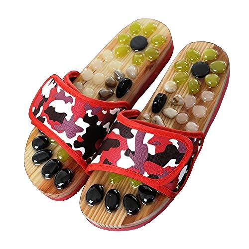 UXZDX La acupresión Terapia de Masaje Deslizadores de la Sandalia de los Hombres Pies giratoria masajeador de pies Zapatos Unisex (Size : Red: 35-36)