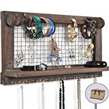 VIEFIN Rustic Wall Mounted Jewelry Organizer,Wood Chic Earring Holder with Shelf, Hanging Hook for Necklace, Farmhouse Wall Decor with Removable Rod for Bracelet (Rustic,Basic)