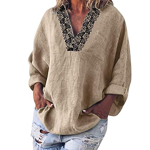 Junjie Tops Mujer Solapa Color Liso con Costura de Encaje Camisas Mujer de Cuello V Atractivo Camiseta para Mujer con Bolsillos Blusas de Mujer Elegante Ideal para Vida Diaria,Trabajo,Ocio