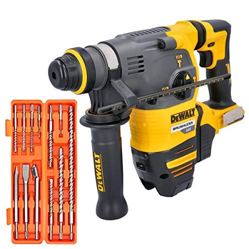Dewalt DCH333 54V Flexvolt XR Brushless SDS+ Hammer Drill with 12 Pc Drill Bit Set