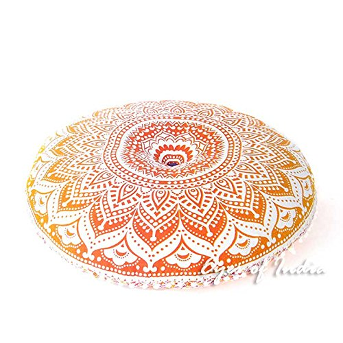 Eyes of India - 32' Yellow Yellow Round Colorful Floor Pillow Cover Meditation Cushion Seating Throw Boho Chic dog bed Mandala Hippie Bohemian Accent Beach Indian Handmade COVER ONLY