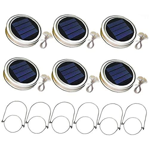 EElabper Solar Mason Jar Coperchio Luce con 2m luci della Stringa Maniglia 20 LED Lanterna Lampada a Sospensione per la Decorazione del Giardino Luminoso Caldo 6PCS