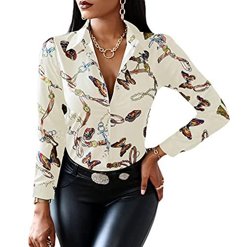 camicia donna elegante MAHUAOYIXI Camicia Donna Elegante con Scollo a V Stampa Floreale Camicetta da Ufficio Maglietta a Manica Lunga (Color Crema