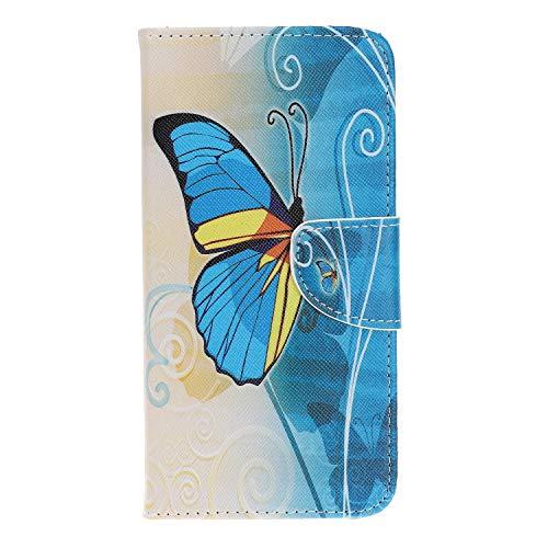HereMore Galaxy A9 2018 Hülle Leder, Flip Cover Brieftasche Handyhülle Silikon Schutzhülle Hülle mit Standfunktion Kartenfach & Magnetisch Klapphülle für Samsung Galaxy A9 2018, Blau Schmetterling