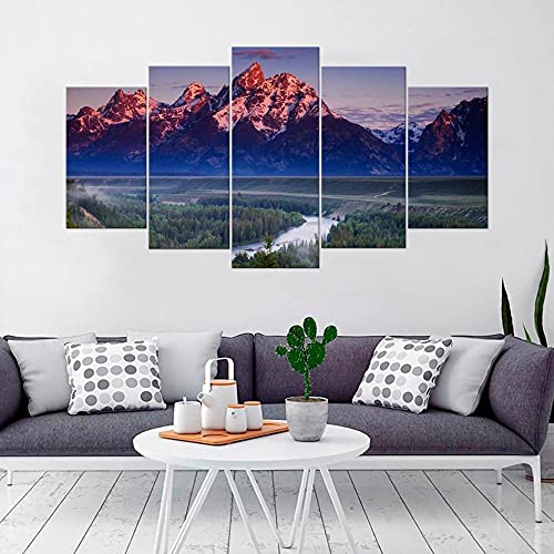 Modern 5 Panels Wall Decoration Painting Living Room Bedroom Hd Print Picture Print On Contemporary Giclee Canvas Wyoming State National Park Grand Teton 80'W x 40'H Framed