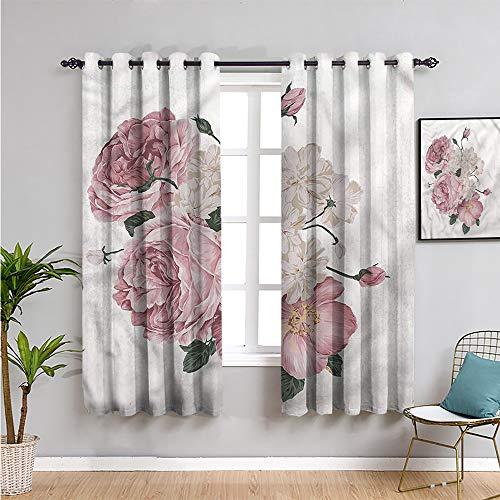 VICWOWONE Cortinas para ventana de privacidad con estampado de rosa, de 160 cm de largo, diseño de rosas antiguas