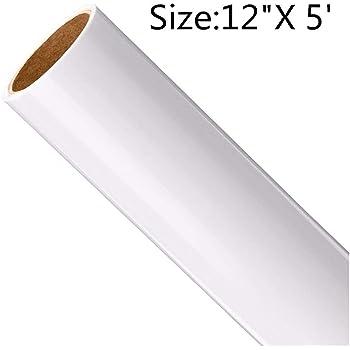 Rollo de vinilo de transferencia de calor imprimible para planchar, vinilo para impresión de camisetas, sublimación de manualidades (12 pulgadas x 5 pies), color blanco: Amazon.es: Hogar